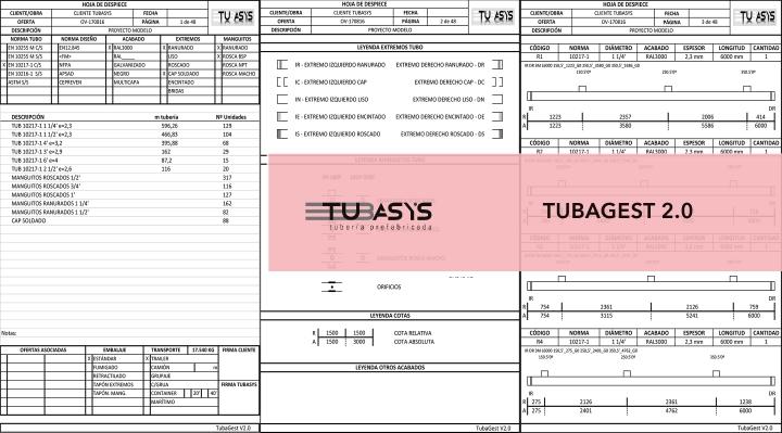 TUBAGEST 2.0 ·  HOJAS DE FABRICACIÓN